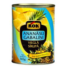 ANANĀSU GABALIŅI KOK VIEGLĀ SIRUPĀ 565G